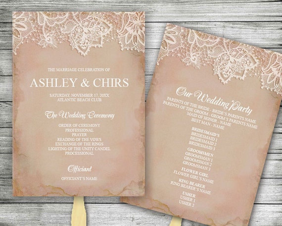 DIY Editable Vintage Wedding Program Fan Instant Download MS
