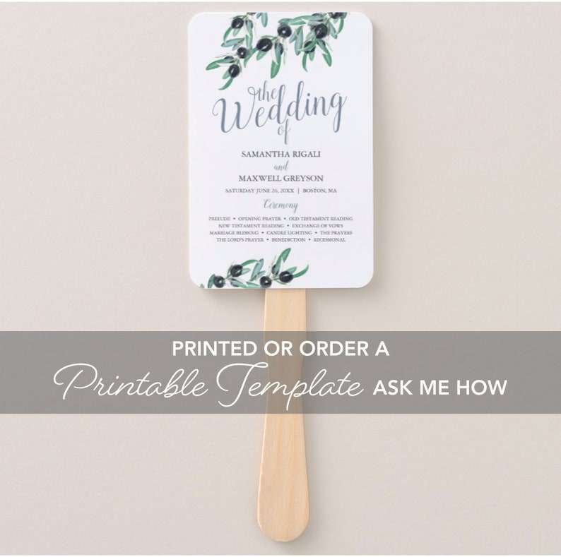 Printed Summer Greenery Hand Fan Assembled Wedding Program Fan Typography Olive Branch Watercolors and Leaves Customized Ceremony Program