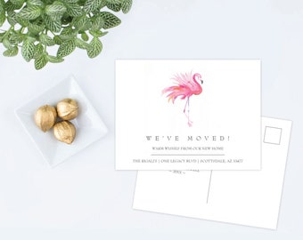 New Home Card, Personalised Watercolor Pink Flamingo Printed Moving Announcement Postcard, Florida Home Sweet Home, Illustrated