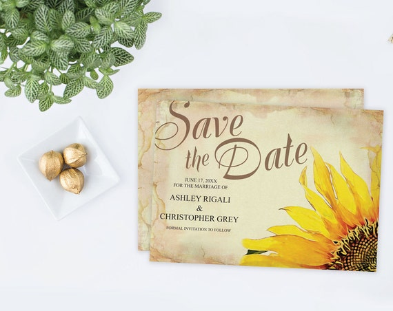 sunflower save the date card template wedding rustic etsy