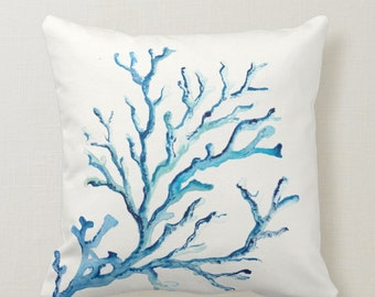 Watercolor Coral Branch Throw Pillow in Shades of Blues on a cream white background Square Marine Life Beach House Decor