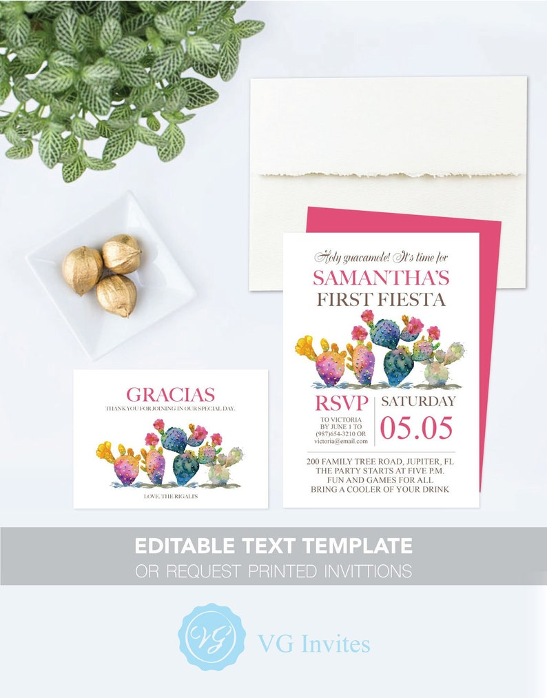 picture relating to Free Printable Fiesta Invitations named MEXICAN INVITATION Template, 5x7 FIESTA Invite and Totally free Printable Thank Yourself Card Template, Editable Phrases, or Ask Released Cactus Playing cards