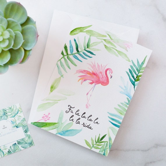 Custom Hand Lettered Calligraphy Cards with a White Envelope Hand Painted Watercolor CHRISTMAS CARDS Tropical Flamingo and Greenery