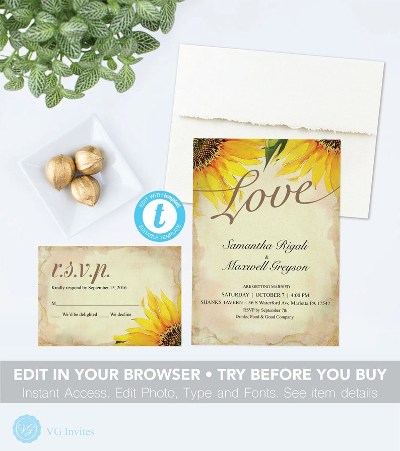 Sunflower Wedding Invitation We Eloped Wedding Invitations Vintage Printable Pdf Invite Set Edit In Browser Digital Download Templett Diy