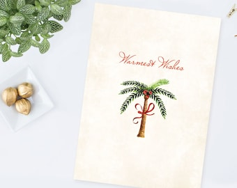 DIY Printable Palm Tree Christmas Card, Coastal Design Christmas Card, Printable Christmas, Holiday Card, Instant Download, Greeting Card