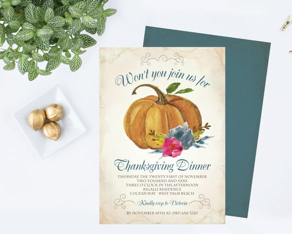 Diy thanksgiving invitation editable text ms word template etsy image 0 maxwellsz
