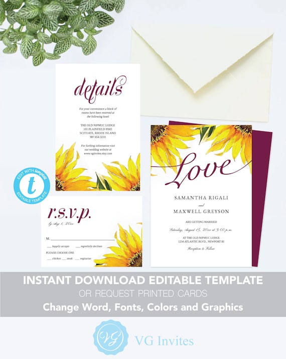 Sunflower Wedding Invitation Suite Template Editable Invite Order Printed Cards Change Colors Fonts Etc Free Demo See Listing Details