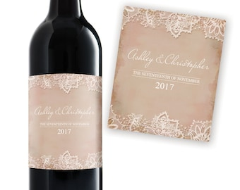 Custom Wine Label, Weddings, Valentines Day Gift, Anniversary Gift, Engagement, Personalized, Romantic Lace, Champagne, Teacher Thank You
