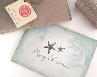 Printable Christmas Card, Beautiful Tropical Starfish Christmas Card with Palm Trees, A Lovely Coastal Design - Business Holiday Card