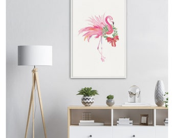 Palm Beach Christmas Decor Pink Flamingo With Laurel Wreath and Red Bow Archival Matte Paper Wooden Framed Poster