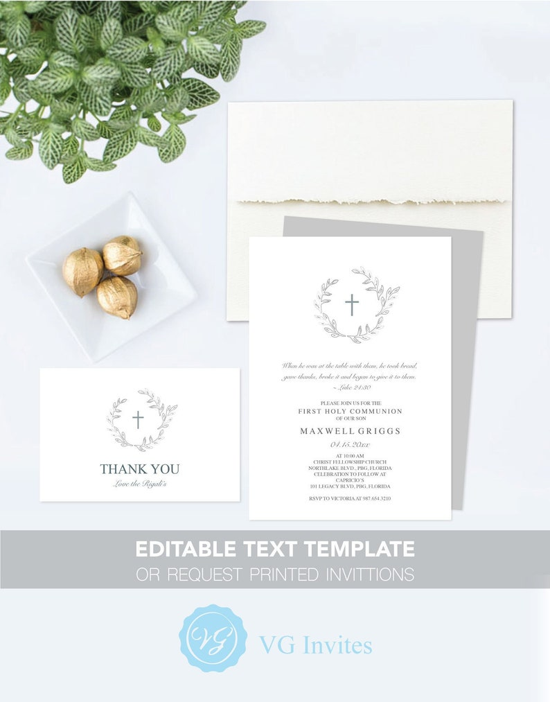 image regarding First Holy Communion Cards Printable Free identify 1st COMMUNION INVITATION with Cost-free Printable Thank On your own Card Template, 5x7 Invites for Boy or Female Gender Impartial, Ground breaking Leaf Style and design