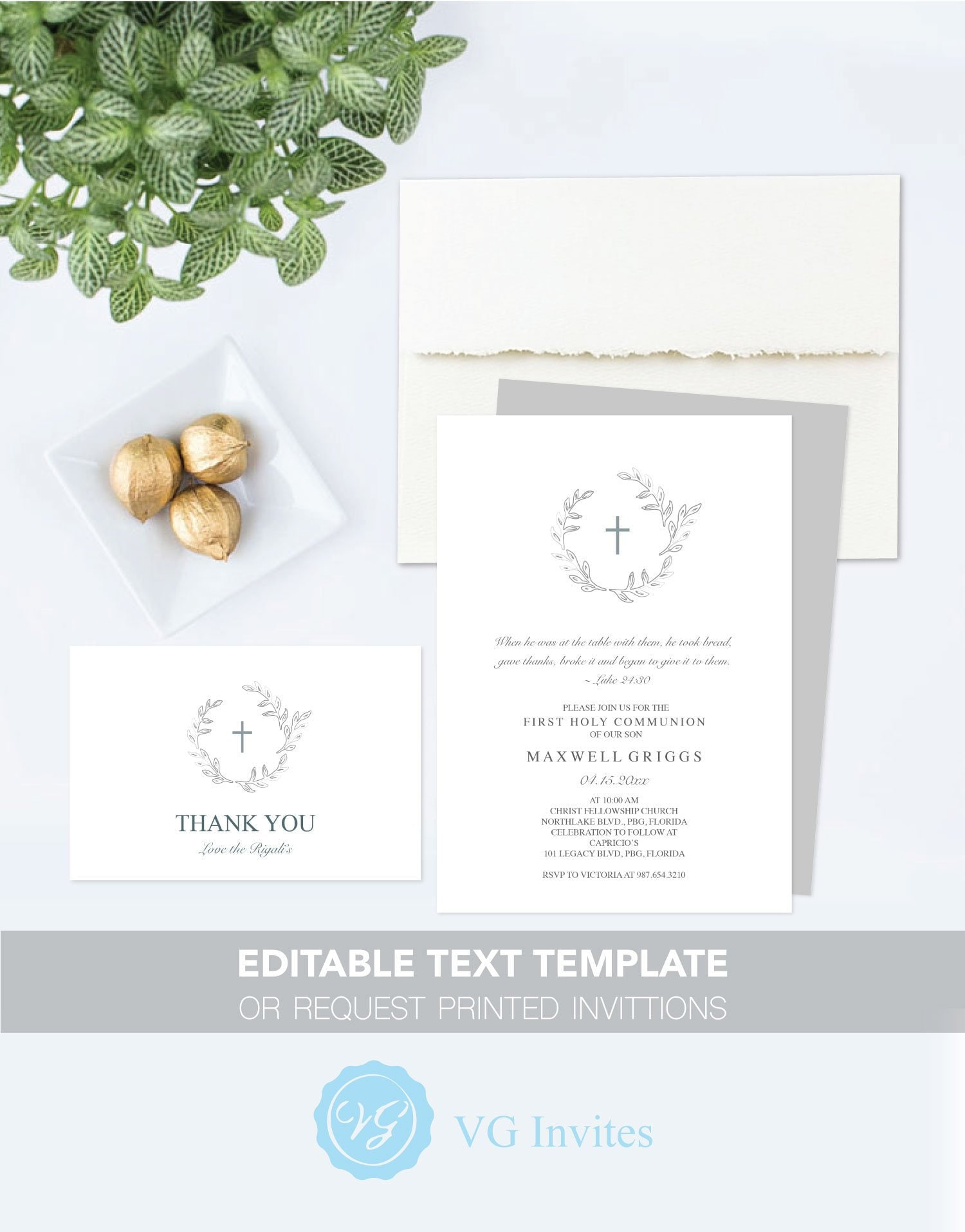 photograph relating to First Communion Invitations Free Printable called Initially COMMUNION INVITATION with No cost Printable Thank On your own Card Template, 5x7 Invites for Boy or Woman Gender Impartial, Progressive Leaf Layout