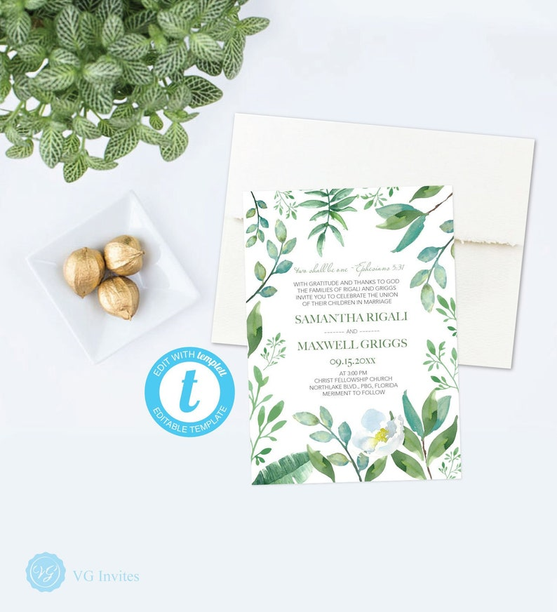 Downloadable CHRISTIAN WEDDING INVITATION Bible Verse Religious Invite Watercolor Greenery Diy Printable Customizable Template 1005266