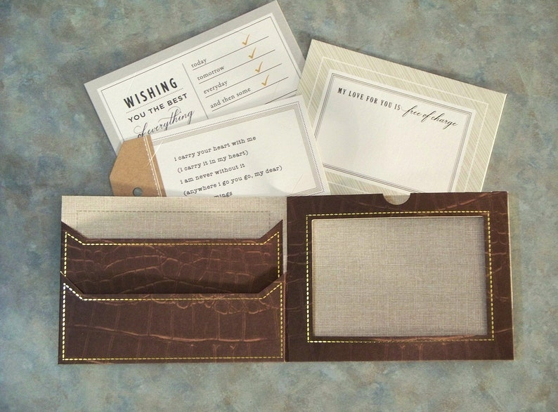 Dark Brown Alligator Pattern with Gold Foil Accents Gift Card Holder Handmade Father/'s Day Wallet Card