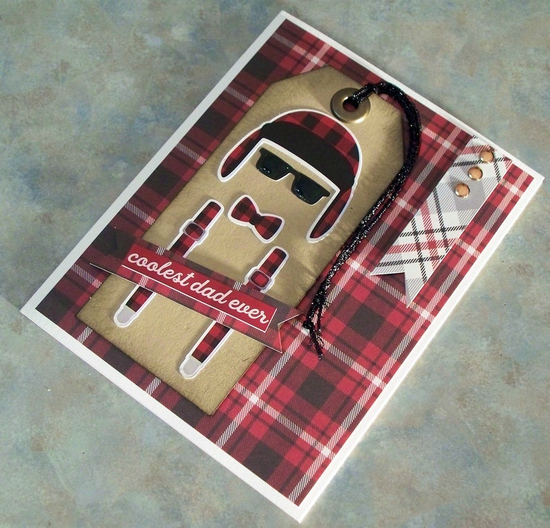 Masculine Birthday or Father/'s Day Features Coolest Dad Ever Phrase Suspenders /& Bow Tie Plaid Winter Hat Handmade Card