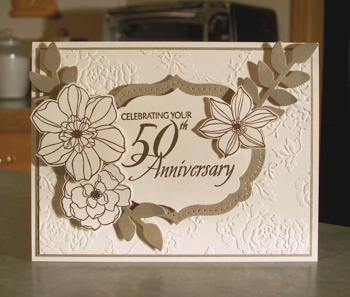 Handmade 50th Golden Anniversary Card Stampin Up Secret Garden
