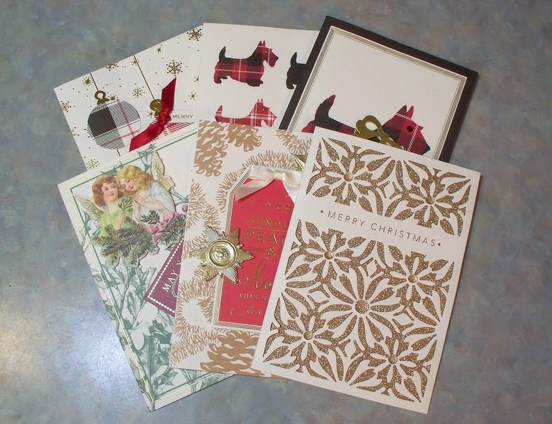 Anna Griffin Christmas Cards.Set Of 6 Anna Griffin Christmas Cards With Sentiments Envelopes Plaid Scottie Dogs Angels Plaid Ornaments