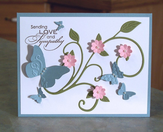 Handmade Card with Embossed Butterflies - Stampin Up Sending Love and  Sympathy - Die-Cut Flourish & Shaped Flowers