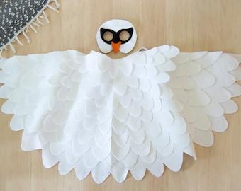 Swan Costume Kids Costume White Bird Mask Wing Costume, Childrens Swan Dress up Toy, For Girls, Halloween Costume, Carnival Costume