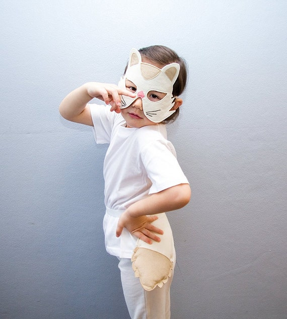 White Cat Costume Kids Cat Mask And Tail Kids Kitty Costume Etsy