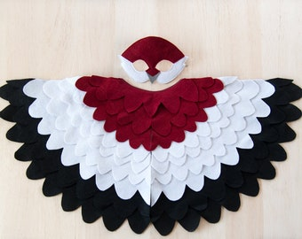 Kids Bird Costume for Imaginative Play, Mask and Wing Cape, Dress up Toy
