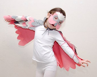 Pink Parrot Costume Kids Costume Bird Costume Kids Parrot Mask and Wing Cape Kids Halloween Costume for Girls Kids Carnival Costume Gift