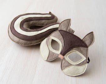 Chipmunk Costume, Felt Mask and Tail, Pretend Play Costume