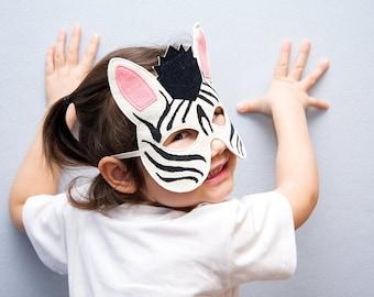 Felt Zebra Mask, Zebra Costume Accessory, Safari Animal, Zoo Dress up Mask, Kids Mask