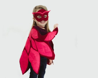 PJ Masks Inspired Owlette Costume,  Mask and Wing Cape, Toddlers Costume, Halloween Costume, Carnival Costume, For girls