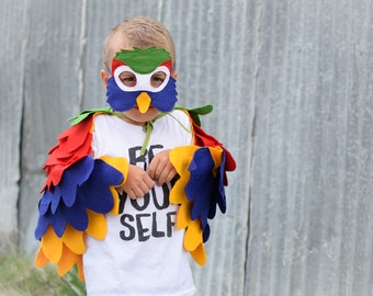 Kids Bird Costume, Colorful Parrot Costume, Parrot Wing Cape and Mask, Halloween Costume for Boys Toddlers Costume for Girls