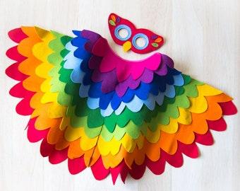 Rainbow Bird Costume, Kids Costume, Bird Dress up Costume, Colourful Halloween Costume, Bird Wing Cape and Mask