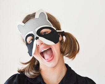 Kids Mask, Raccoon Mask, Kids Raccoon Costume Accessory, Animal Mask, Kids Halloween Mask, Photo Props, Soft Toy, For Girls, For Boys