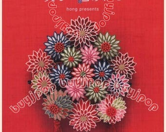 Japanese Craft Pattern Book Beautiful Traditional Tsumami Kanzashi Floral Deco Hair Pin