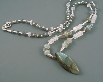Labradorite Necklace, Labradorite, Moonstone and Sterling Silver