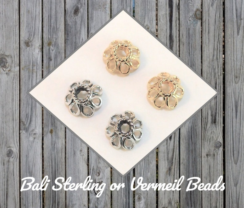 1.5mm hole Bali Daisy Bead Caps in Oxidized Sterling Choose a Quantity 3.5mm x 7.7mm