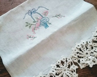 Wonderful linen embroidered & lace edged runner.