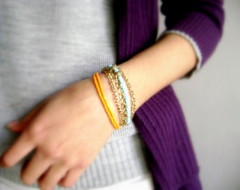Bohemian bracelet boho chic - Thrilling -  turquoise orange stacking  bracelet gold chain stacked bracelet- bohemian everyday