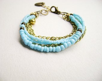Free shipping - Breeze - trendy stacking bracelet in light turquoise gold chains boho chic style