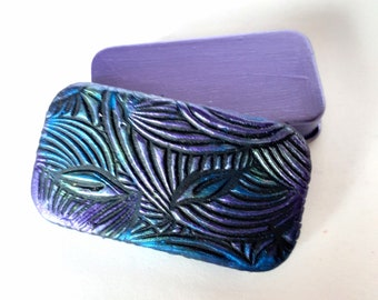 MINI Pill Box Iridescent Jewel Tone pattern Metal slide top tin Beautiful purse accessory Unique handcrafted gift FREE velvet gift pouch