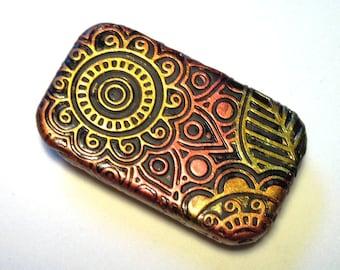 Exotic Pill Box Indian Mehndi Pattern Midnight Black with Jewel Tones Henna Tattoo Design Purse Accessory Case Pocket Pill Case Mandala