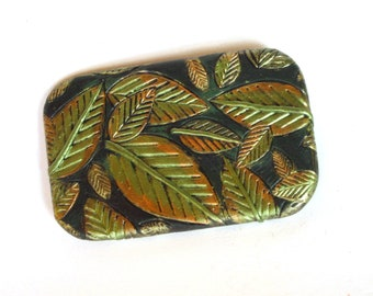 LARGE Metal slide top tin Green jungle leaves design Compact and sturdy storage Stash box Handmade unisex gift FREE velvet pouch