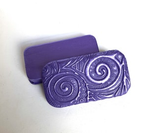 MINI Pill Box Purple and Violet Pearl Spiral swirls Funky slide top Pill case Vitamin holder Psychedelic design FREE Velvet Gift Pouch