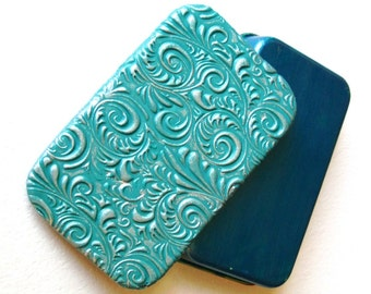 LARGE Size Teal Blue Rococo Slide Top Tin Beautiful Purse Accessory Sturdy Storage Box Great Gift FREE Grey Velvet Gift Pouch