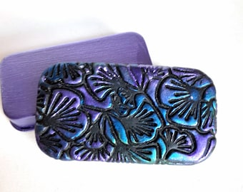 MINI Metal Pill Box Tiny ginkgo leaves in shimmery blue violet Unique purse accessory Metal slide top tin Handcrafted gift FREE gift pouch