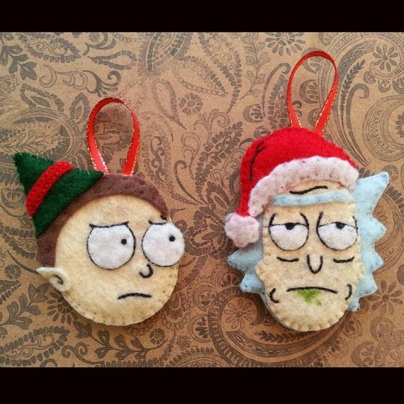 Rick And Morty Christmas Ornaments.Rick And Morty Ornament Felt Ornament Christmas Ornament Handsewn