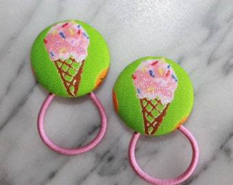 Strawberry Ice Cream Cones pony tail holders make adorable party favors, gifts, everyday hair accessories