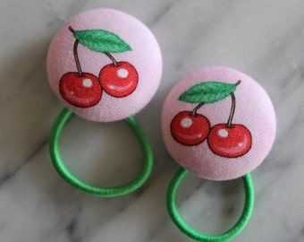 Cherry pony tail holders make adorable party favors, gifts, everyday hair accessories