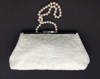 Lace clutch, ivory clutch,  wedding clutch, bride clutch, evening bag, formal clutch, family heirloom, one of a kind