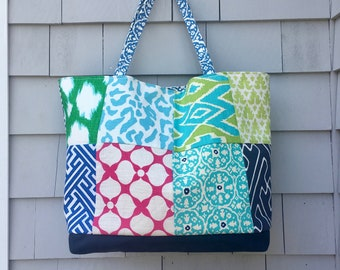 Patchwork tote, linen tote,  preppy tote, beach tote, travel tote, in Quadrille, Schumacher, Kate Spade and HGTV fabric, one of a kind