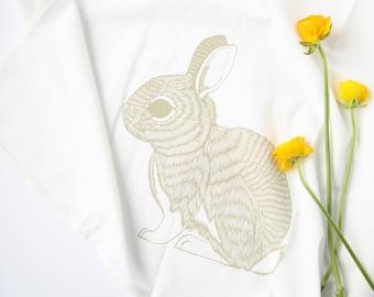 Rabbit tea towel, kitchen towel, spring decor, flour sack towel, rabbit decor, rabbit towel, bunny tea towel, bunny tea towel